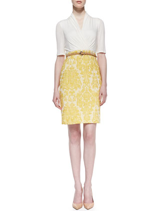 3/4-Sleeve Jersey & Brocade Combo Dress, White/Yellow