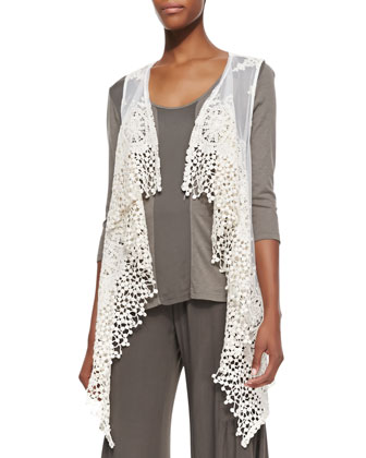 Arielle Long Lace Drape Vest, Suki Slub 3/4-Sleeve Top & Agate Wide-Leg ...