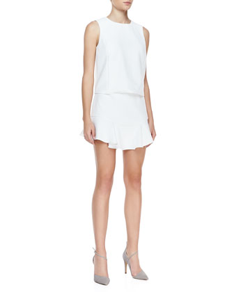 Vivian Ruffle-Hem Poplin Dress