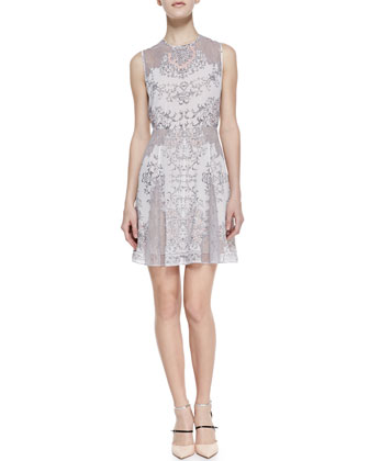 Gwyneth Lace-Inset Flared-Skirt Dress