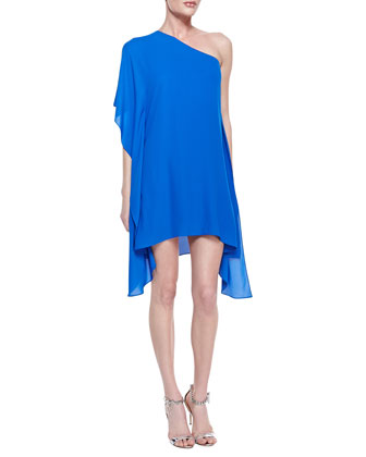 Alana One-Shoulder Side-Drape Dress