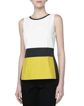 Pique Sleeveless Colorblock Top