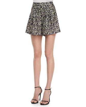 Pleated Printed Satin Shorts