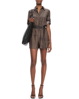 Long-Sleeve Silk Jumpsuit