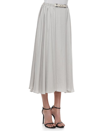 Belted Jersey Maxi Skirt