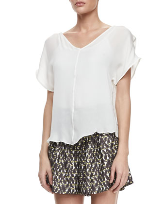 Lace-Side Silk Top
