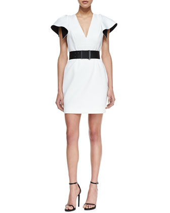 Neoprene V-Neck Ruffled-Back Dress
