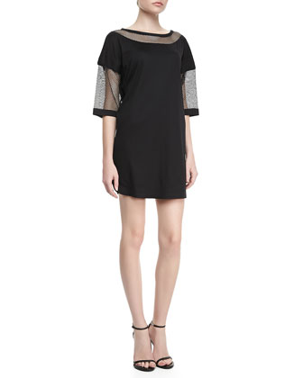 Knit and Mesh Shift Dress