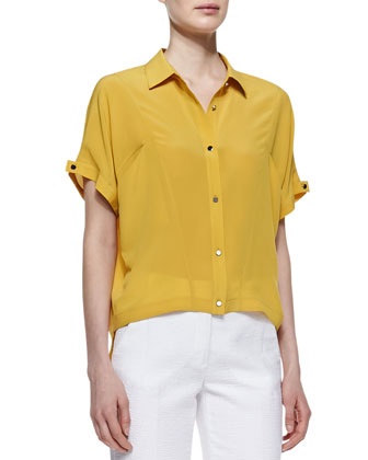 Silk Boxy Button-Down Shirt