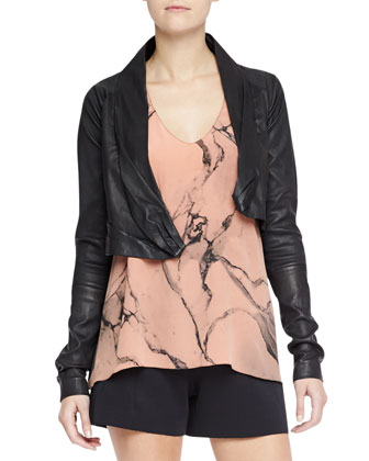 Ballet Stretch Lambskin Leather Jacket, Carrara Printed Silk Sleeveless Top ...