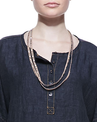 Henley Delave Linen Top, Slim Tank, Sequined Rivulet Necklace & Skinny ...