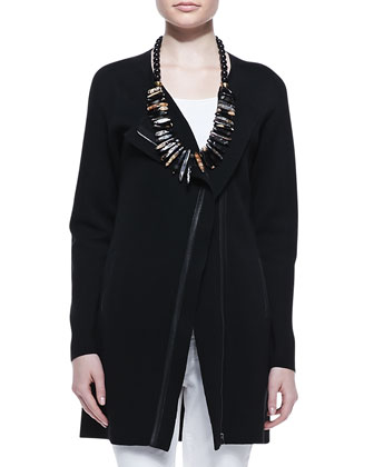 Leather-Trim Long Jacket, Petite
