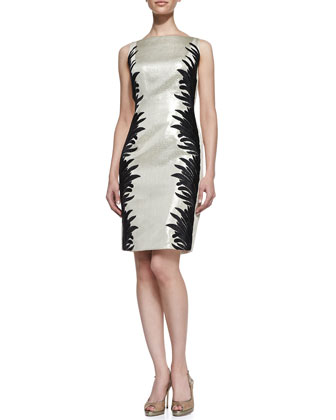 Sleeveless Two-Tone Cocktail Dress, Champagne/Black