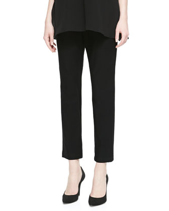 Silk Jersey Layered Boxy Tunic & Washable Stretch-Crepe Ankle Pants, Petite