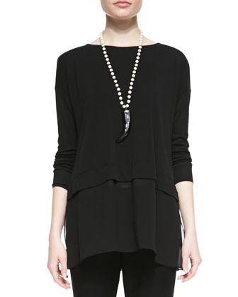 Silk Jersey Layered Boxy Tunic, Black