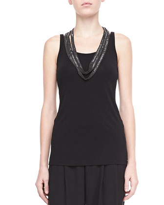 Silk Jersey Long Slim Camisole, Black, Women's
