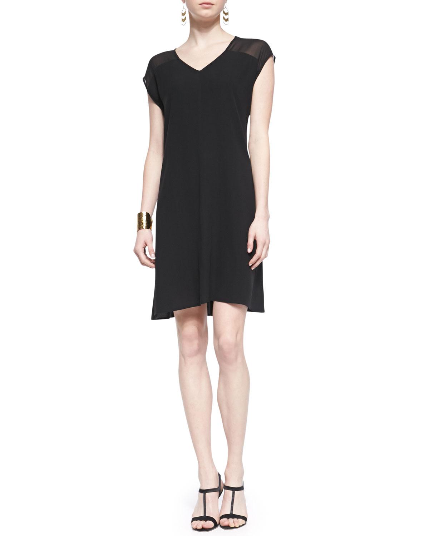 Womens Short Sleeve Sheer Shoulder Silk Dress, Black   Eileen Fisher   Black