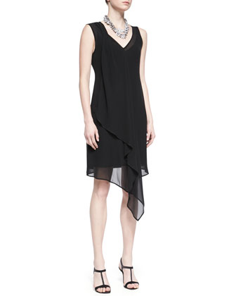 Sleeveless Sheer Silk Cascading Dress, Black, Petite