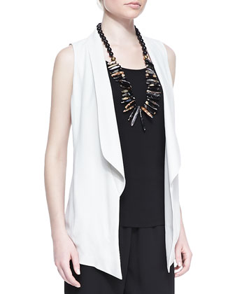 Silk Shawl-Collar Vest & Silk Jersey Long Slim Camisole, Petite
