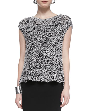 Short-Sleeve Chunky Knit Top, Black/White