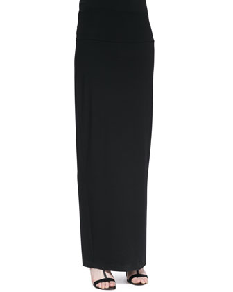 Fold-Over Maxi Skirt, Black