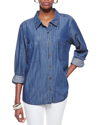 Long-Sleeve Chambray Shirt, Petite