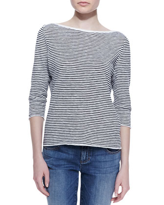 Striped 3/4-Sleeve Cross-Shoulder Top, Women's