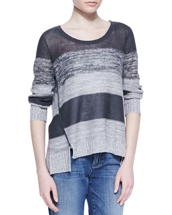 Blurred Striped Organic Linen Top
