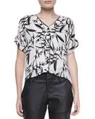 Eugenie Printed Short-Sleeve Blouse