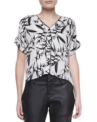 Eugenie Printed Short-Sleeve Blouse & Anders Leather/Ponte Pants