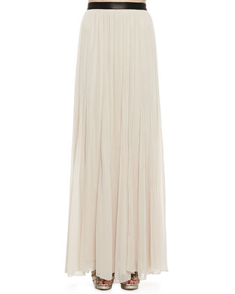 Dawn Leather-Waist Maxi Skirt