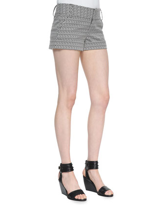 Diamond-Print Cady Cuff Shorts