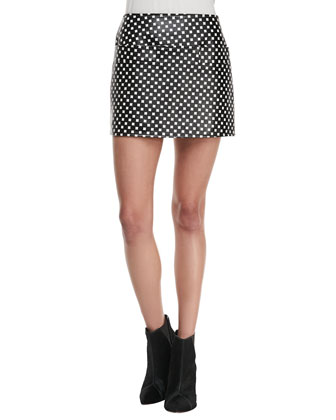 Block-Print Leather Skirt