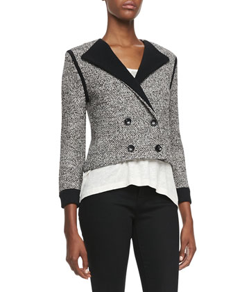Calley Double-Breasted Sweater-Knit Jacket