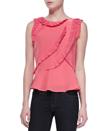 Frances Ruffled Crepe Top and Stick Denim Skinny Jeans