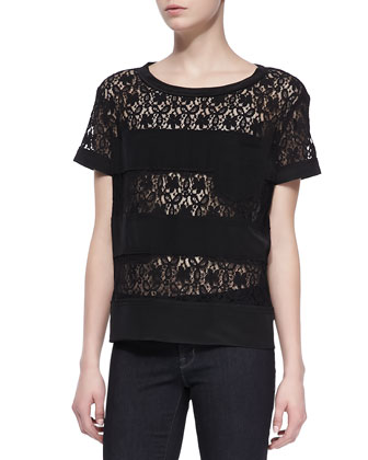 Leila Lace-Stripe Top