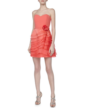Strapless Tiered Organza Dress