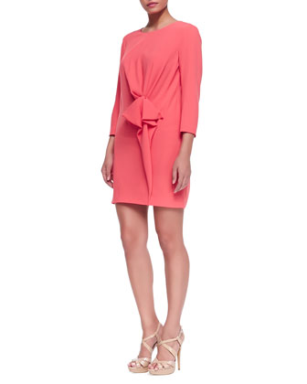 Crepe Gathered-Detail Long-Sleeve Dress