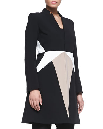 Long-Sleeve Tricolor Crepe Coat