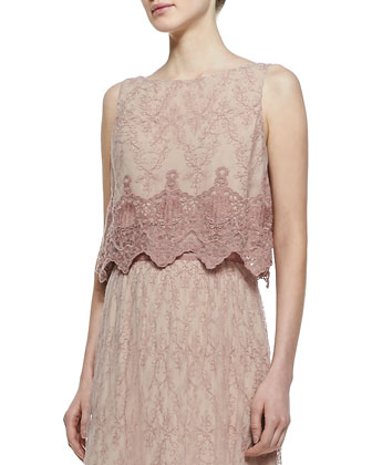 Ardith Embroidered Crop Top & Louie Lace/Chiffon Maxi Skirt