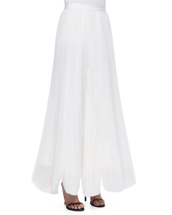 Ivy Beaded Sweetheart Bustier & Bethie Long Pleated Maxi Skirt