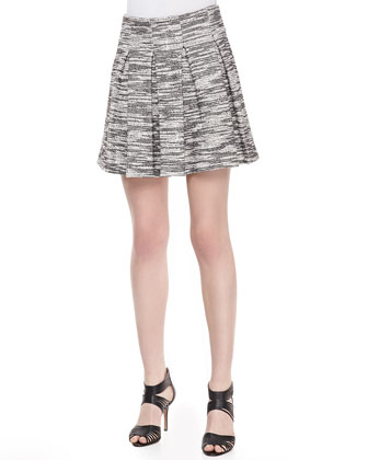 Davis Pleated Tweed Skirt
