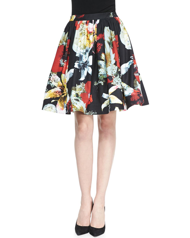 Womens Pia Floral Print Pleated Full Skirt   Alice + Olivia