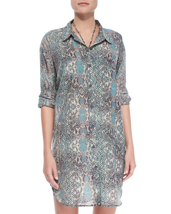 Vivid Boyfriend Silk Coverup Shirt