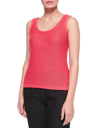 Crocheted Tank, Coral