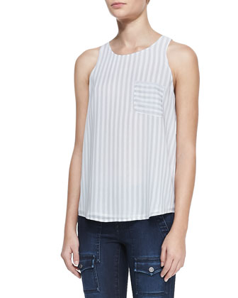 Nicholette Striped Silk Pocket Tank
