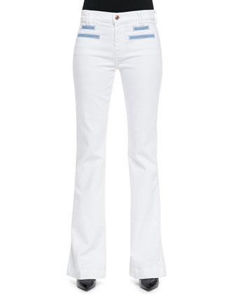 Tailored Flare Jeans, White