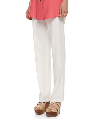 Cabo Straight-Leg Pants, White