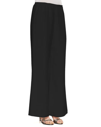 Silk Crepe Jewelry Top & Silk Wide-Leg Pants, Women's