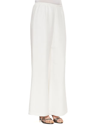 Silk Wide-Leg Pants, White, Women's